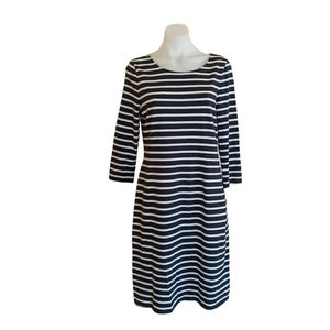 Sussan Size S Navy Striped 3/4 Sleeve Shift Dress Workwear